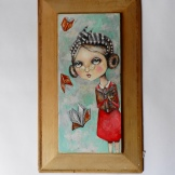 100000 messages on victorian pine panel 46 x26
