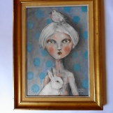 61 x 46 painting on board size includes frame