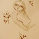 queen bee 40 x 50 cms pencil on board